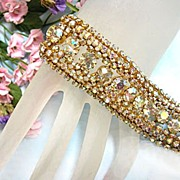 Breathtaking Austrian Aurora Borealis Vintage Wide Bracelet 7 Rows Sheer Beauty