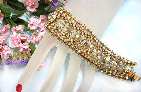 Breathtaking Austrian Aurora Borealis Vintage Wide Bracelet 7 Rows Sheer Beauty