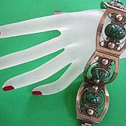 Vintage Sterling Silver 925 Carved Green Onyx Aztec Head Mexican Bracelet