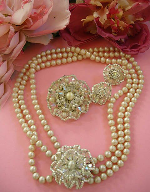 Return to Elegance Spectacular Vintage Vendome 3 Strand Pearl Necklace Earrings Brooch Simulated Pearls