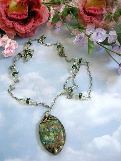 Early 1900's Breathtaking Crystal Carved Art Glass Flapper Necklace