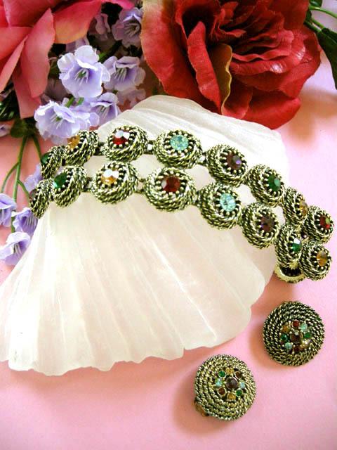 Vintage Chunky Judy Lee Rhinestone Bracelet and Earrings Demi