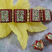 Vintage Matisse Enamel  Speckled Wide Link Bracelet and Earrings