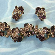 Juliana  D&E 5 Link Tiered Amethyst Demi Bracelet and Earrings