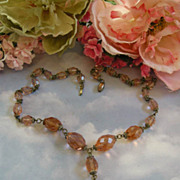 Fabulous Early 1900's Czech Pendant Huge Crystal Peach Stone