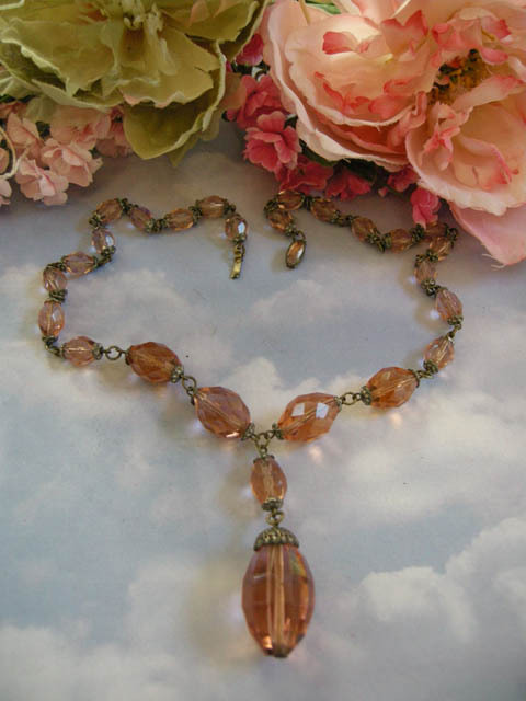 Fabulous Early 1900's Czech Pendant Huge Crystal Peach Stone