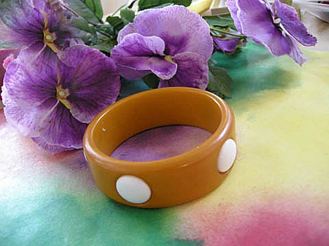 Vintage Bakelite Bangle with Large White Dots Big and Chunky