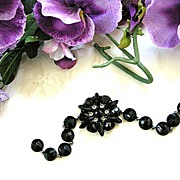 Alluring Jet Black Crystal Bracelet Designer Marked.