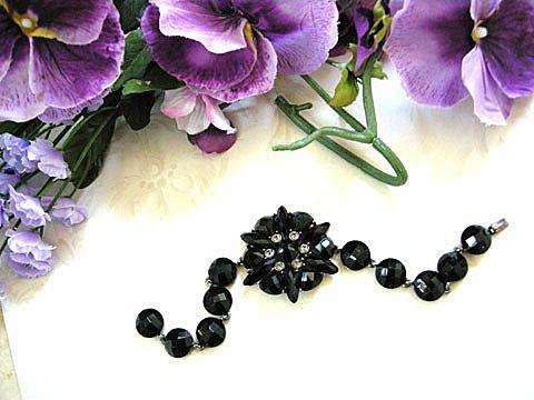 Alluring Jet Black Crystal Bracelet Designer Marked.