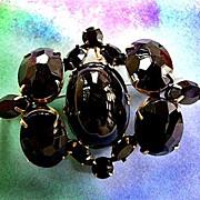 Gorgeous Vintage Schreiner Jet Black Cabochon Chunky Brooch