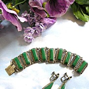 Mexico Sterling Vintage Bracelet and Earrings Demi Parure