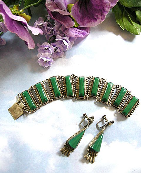 Mexico Sterling Vintage Bracelet and Earrings Demi Parure