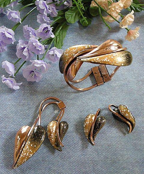 Vintage Matisse Leaflet Copper Enamel Speckled Bracelet Earrings Brooch