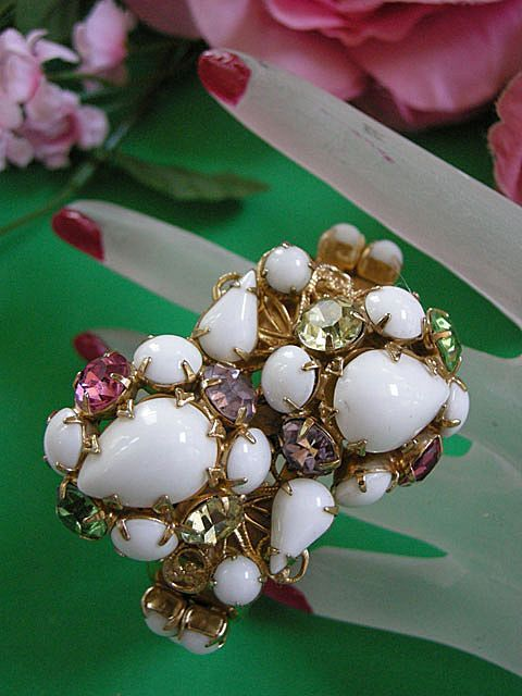 Massive Summer Rhinestone Bracelet All Glass Stones Vintage
