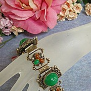 Big Bold Chunky Vintage Panel Bracelet Cabochon Bracelet Rhinestones