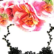 Huge Vintage Designer Jet Black Magnificent Bib Necklace