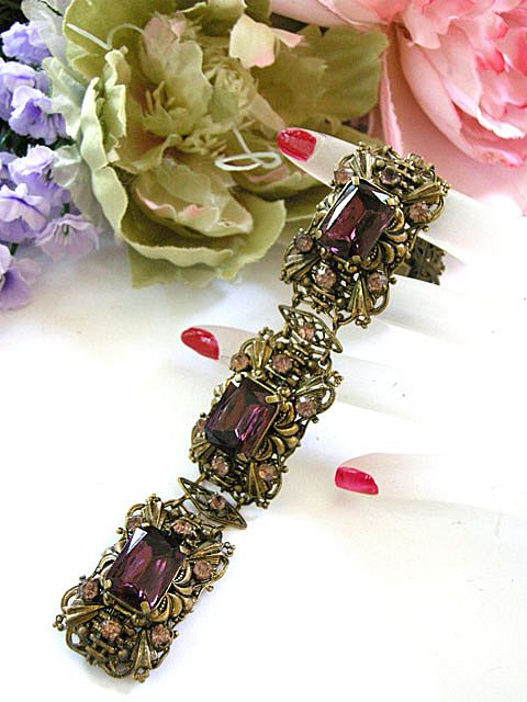 Magnificent Early 1900's Czech Huge Amethyst Glass Bracelet