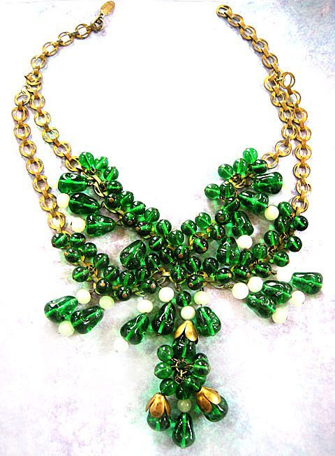 BIG Bold Old Haskell Huge Drippy Glass Bead Necklace Vintage