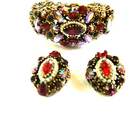Faux Pearls and Heavily Encrusted Weiss Vintage Ruby Red Clamper Bracelet and Earrings