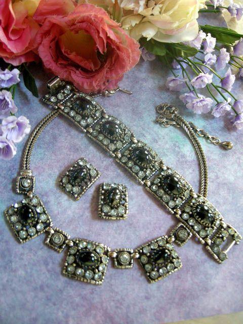 Divalicious Vintage Huge Set Hematite Rhinestone Necklace Bracelet Earrings