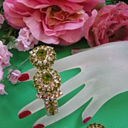 Gorgeous Olivine Encrusted Clamper Vintage Bracelet and Earrings