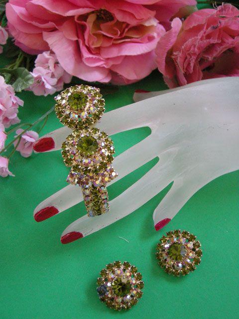 Gorgeous Olivine Encrusted Clamper Vintage Bracelet and Earrings