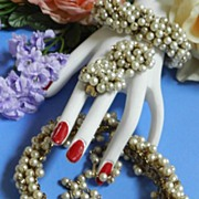 Return to Elegance Hand Wired Designer Simulated Pearl Necklace Bracelet Earrings