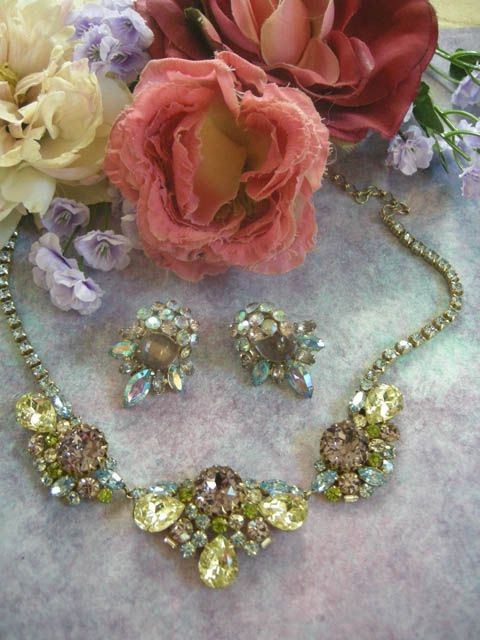 Extravagant Vintage Hobe Massive sized pastel Necklace and Earrings