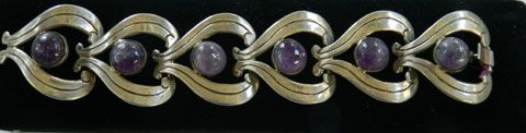 Gorgeous Scalloped Amethyst Vintage Sterling Silver Mexico Bracelet and Earrings
