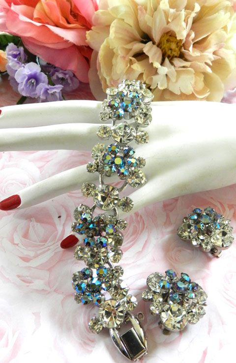 Multi Tiered Vintage Juliana 5 Link Stardust Blue Bracelet and Earrings
