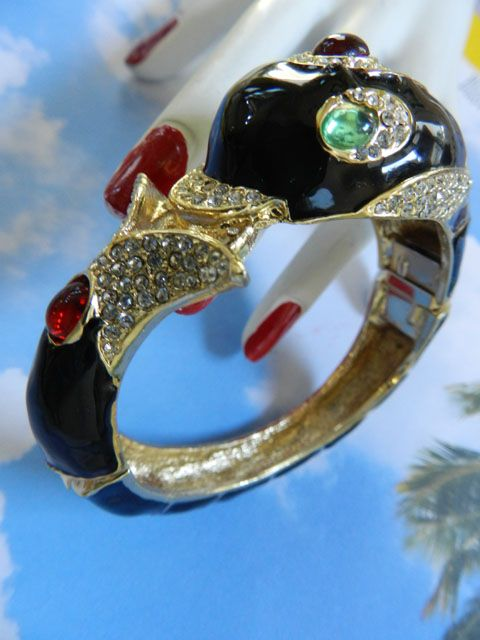 Playful Dolphin Vintage Rhinestone and Enamel Designer  Bracelet
