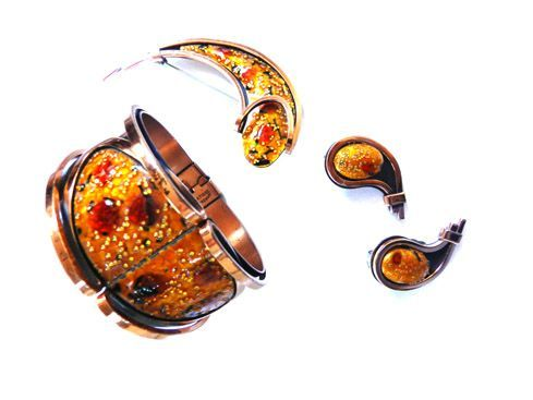 Matisse Speckled Enamel and Copper Cuff Bracelet Brooch Earrings