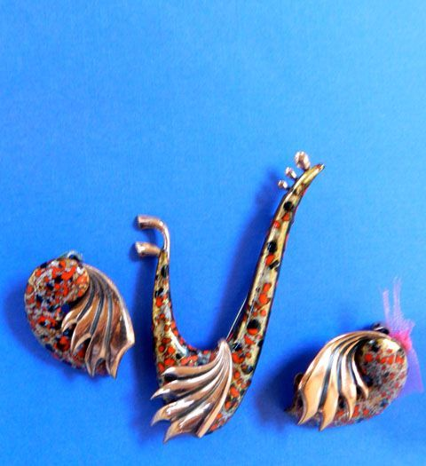 Vintage Matisse Copper and Enamel Red and Orange Wing song Brooch and Earrings
