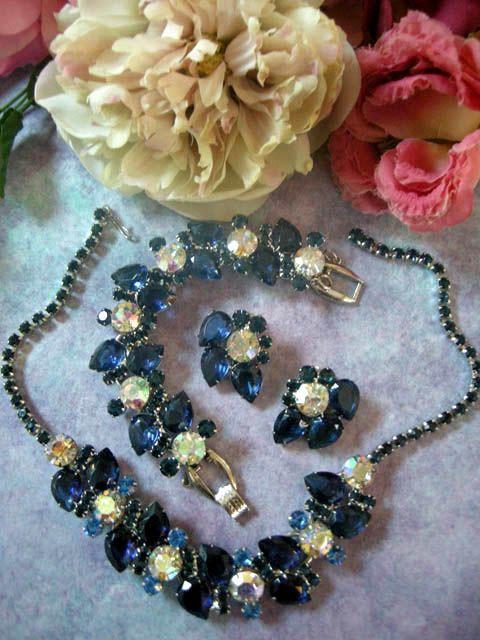 Huge Juliana Vintage Pear Shaped Sapphire Necklace Bracelet Earrings Brooch