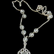 Gorgeous Vintage Camphor Glass Star Necklace
