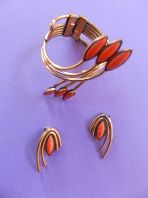 Matisse Vintage Orientale Orange Enamel and Copper Bracelet and Earrings