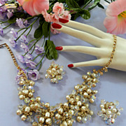 Return to Elegance Juliana Vintage Massive Faux Pearl Bib Necklace and Earrings