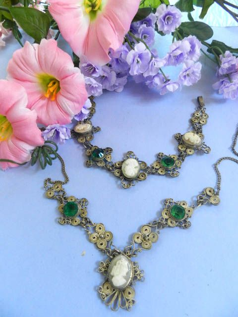 Vintage Early 1900's Carved Shell Cameos Necklace and Bracelet