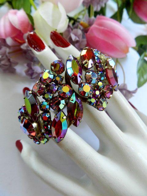 Siam Red Vintage D&E Juliana Clamper Bracelet