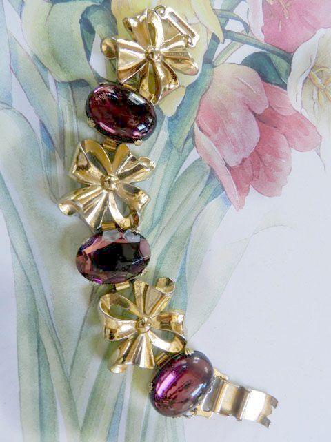 Vintage Big Bold Amethyst Glass  Stone Bracelet Designer
