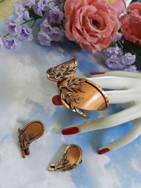 Fabulous Renoir Vintage Clamper Bracelet Laurel Leaves Gorgeous!