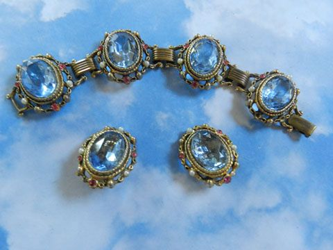 Chase the Blues Away Vintage Trifari Huge Stone Bracelet and Earrings