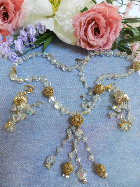 Exquisite Vintage Faceted Aurora Borealis Crystal Drippy Necklace