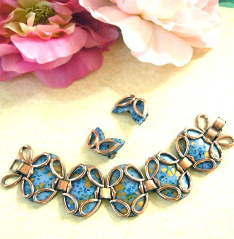 Vintage Matisse Guinevere Copper Enamel Bracelet and Earrings
