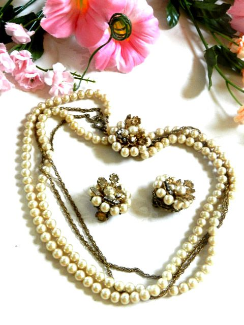 Gorgeous DeMario Vintage Simulated Pearl Necklace and Earrings