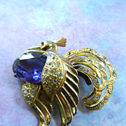 Exquisite Highly Detailed Peacock Vintage Brooch Tanzanite Colored Stone