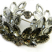 Vintage 1950's Big Tiered Smoke Colored Brooch