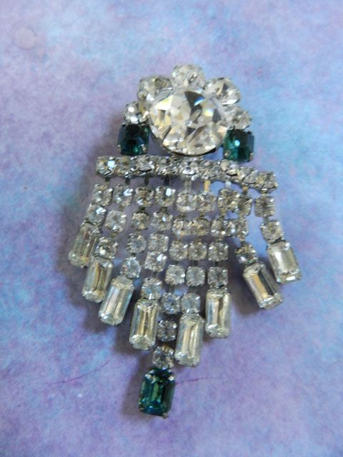 Very Old High End Drippy Emerald Green Brooch Austrian Stones