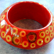 Sunday Brunch Huge Bagels and Cream Cheese Plastic Bracelet Vintage