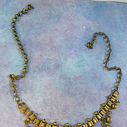 Vintage Brass Victorian Revival bookchain Necklace Drippy Findings